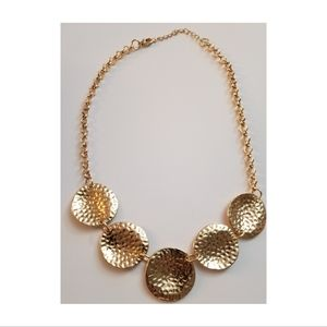 Bright Gold Hammered Short Necklace & Earring